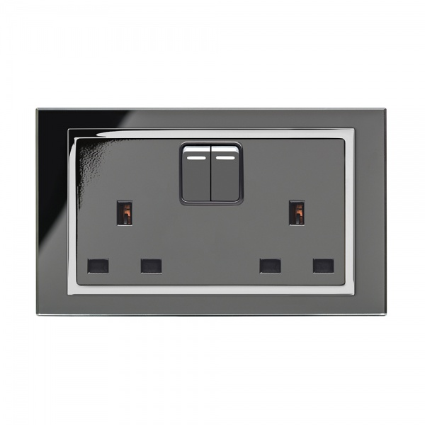Crystal Ct 13a Dp Double Plug Socket With Switch Black